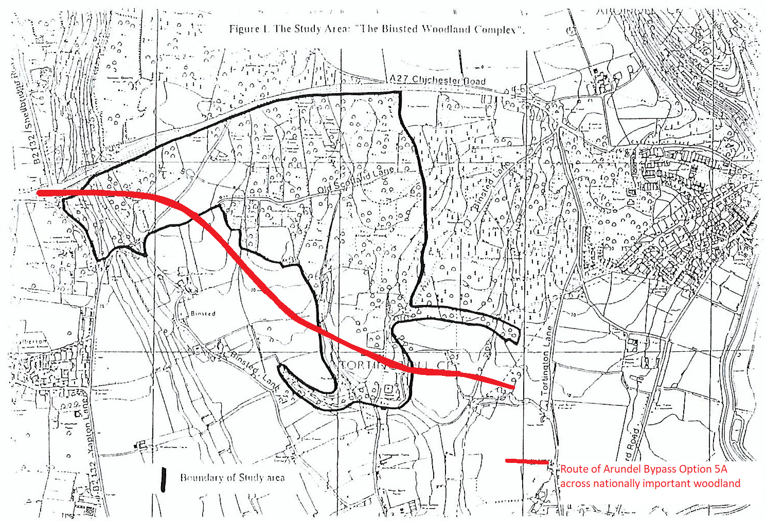 Route of Arundel Bypass across important woodland