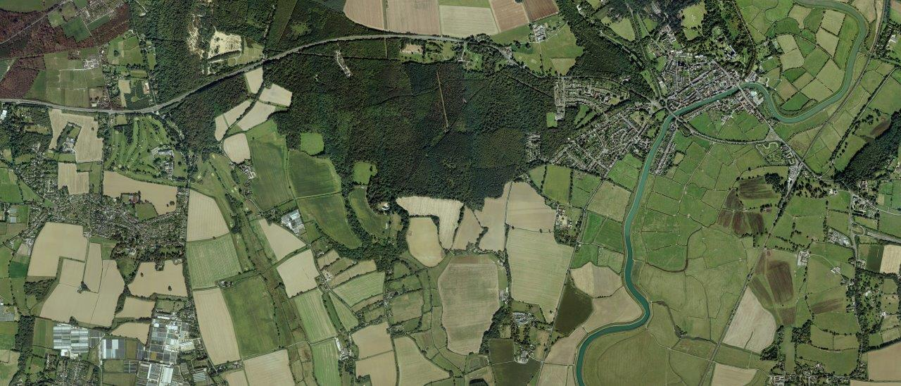 Aerial view of Binsted Countryside and Woodland
