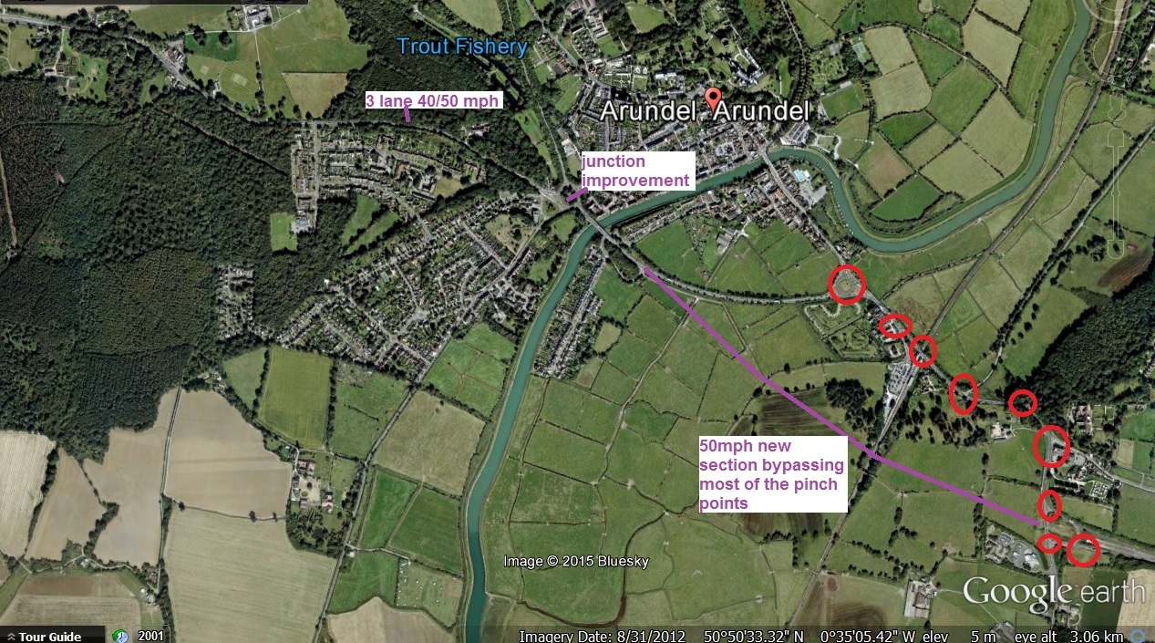Map shows how a short Arundel bypass cuts out most of the A27 pinch points that lead to traffic queuing